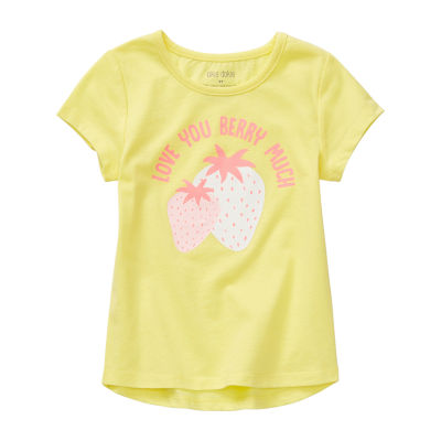 Okie Dokie-Toddler Girls Round Neck Short Sleeve Graphic T-Shirt