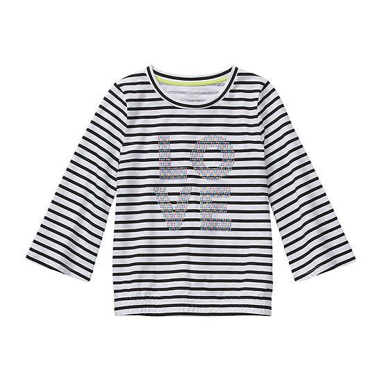 Arizona Girls Scoop Neck Long Sleeve Graphic T-Shirt - Preschool / Big Kid