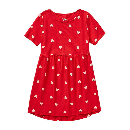 City Streets Girls Short Sleeve Fitted Sleeve Skater Dress - Preschool / Big Kid