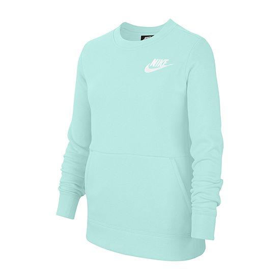 Nike Girls Crew Neck Long Sleeve Sweatshirt - Big Kid