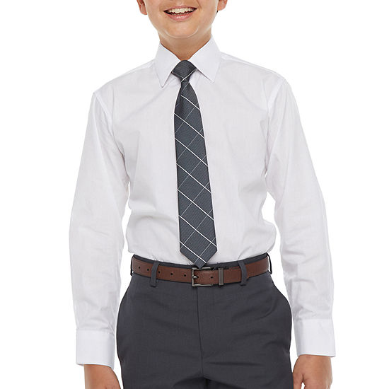 Collection By Michael Strahan Big Boys Button Down Collar Long Sleeve Shirt + Tie Set