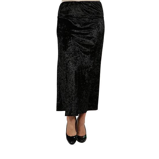 24/7 Comfort Apparel Taupe Velvet Maxi Skirt - Plus