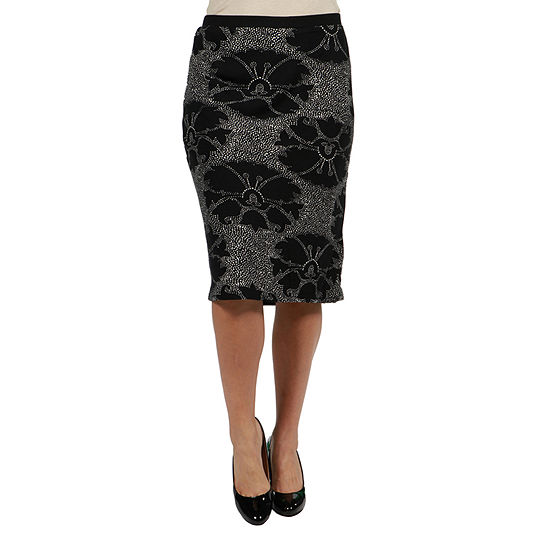 24/7 Comfort Apparel Floral Print Pencil Skirt - Plus