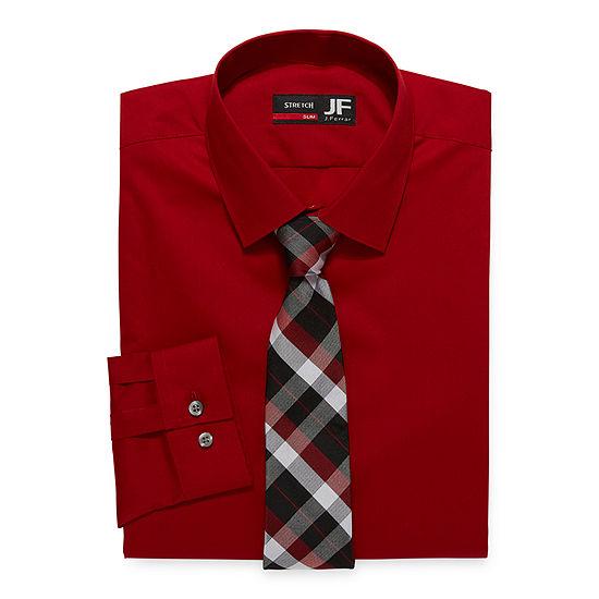 JF J.Ferrar Mens Spread Collar Long Sleeve Stretch Slim Dress Shirt + Tie Set