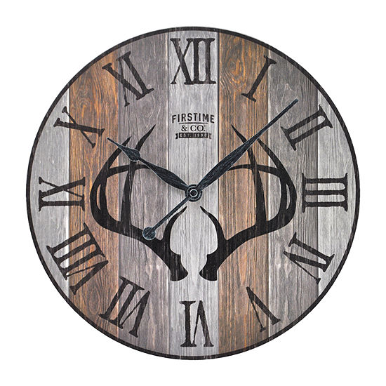Firstime Timber Antlers Wall Clock