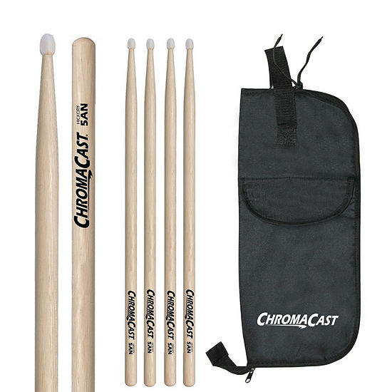 ChromaCast 5AN 3 Pairs of Hickory Nylon-Tipped Drumsticks with Bag