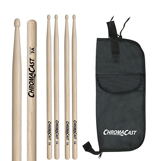 ChromaCast 7A 3 Pairs of Hickory Drumsticks with Bag