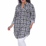 White Mark-Plus Piper Plaid Womens Long Sleeve Tunic Top