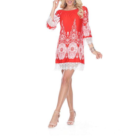 White Mark Mya 3/4 Sleeve Paisley Sheath Dress