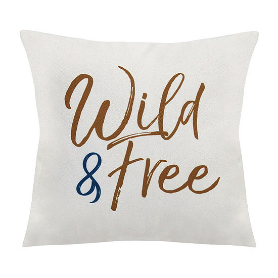 Stratton Home Decor Wild And Free Square Throw Pillow