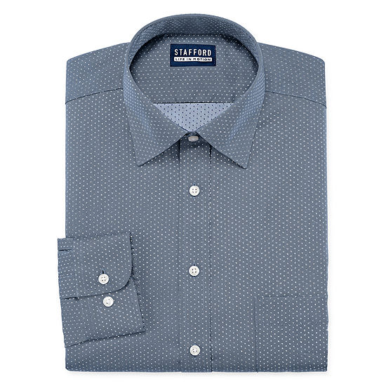 Stafford All Season Cool Max Mens Point Collar Long Sleeve Stretch Cooling Moisture Wicking Dress Shirt