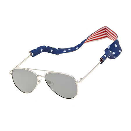 1960s Sunglasses | 70s Sunglasses, 70s Glasses Panama Jack Aviator Sunglasses with American Flag Cord One Size  Silver $13.49 AT vintagedancer.com