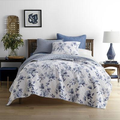 JCPenney Home Emma Indigo Rose Floral Reversible Quilt