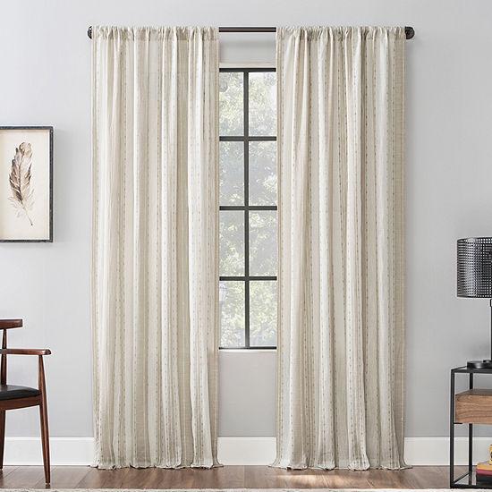 Archaeo Slub Texture Stripe Cotton Light-Filtering Rod-Pocket Single Curtain Panel