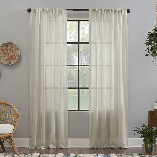 Clean Window Solid Anti-Dust Rod-Pocket Single Sheer Curtain Panel