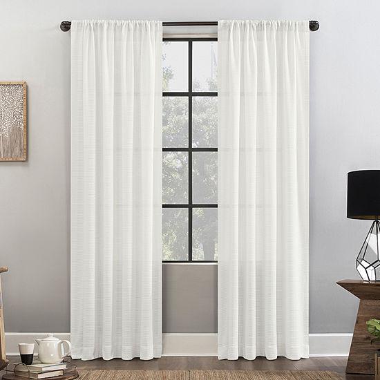 Clean Window Waffle Texture Anti-Dust Light-Filtering Rod-Pocket Single Curtain Panel