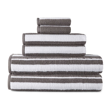 JCPenney Home Striped Bath Towel, One Size , Gray