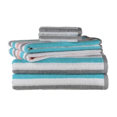 Peach And Oak Pinstripe 6-pc. Quick Dry Stripes Bath Towel Set