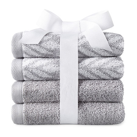 JCPenney Home Ives 4-pc. Washcloth, One Size , Gray