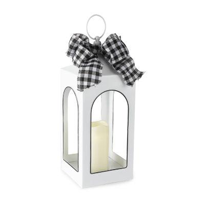 JCPenney Home Medium White Enamel Led Decorative Lantern