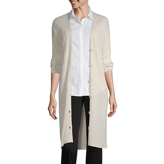 Worthington Womens Long Sleeve Button Cardigan