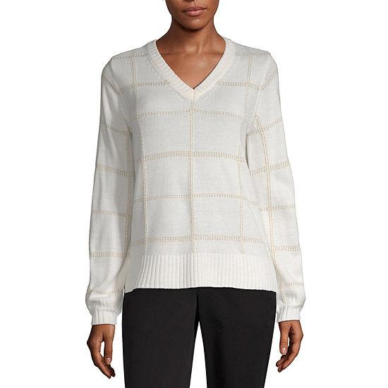 Worthington Womens V Neck Long Sleeve Geometric Pullover Sweater