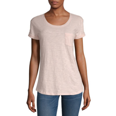 a.n.a-Womens Round Neck Short Sleeve T-Shirt