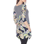 White Mark Womens Round Neck 3/4 Sleeve Tunic Top