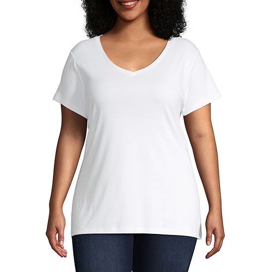 St. John's Bay Womens Plus V Neck Short Sleeve T-Shirt