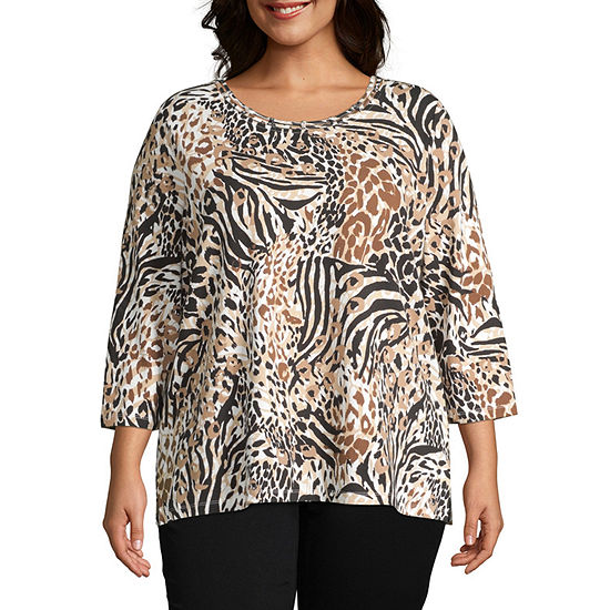 Alfred Dunner Classics Womens Round Neck 3/4 Sleeve T-Shirt - Plus