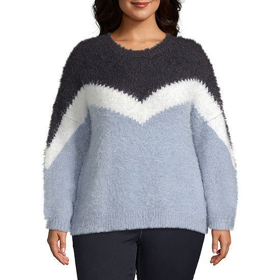 a.n.a Womens Crew Neck Long Sleeve Pullover Sweater -Plus