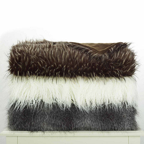 West Park Faux Fur Acrylic Faux Fur Reversible Midweight Throw