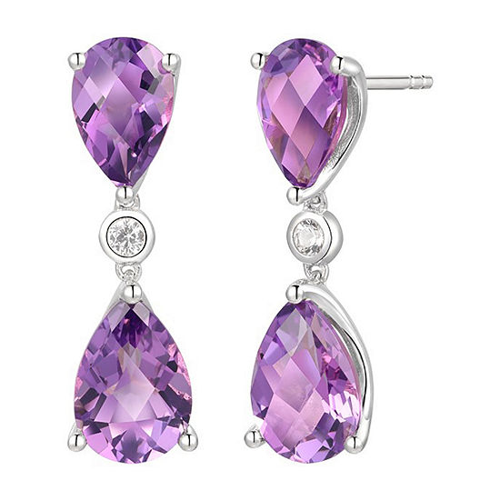 Lab Created Purple Amethyst Sterling Silver Drop Earrings