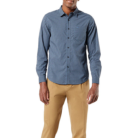 Dockers Washed Poplin Mens Long Sleeve Plaid Button-Down Shirt
