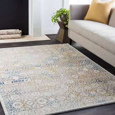 Sartre Cream Damask Area Rug