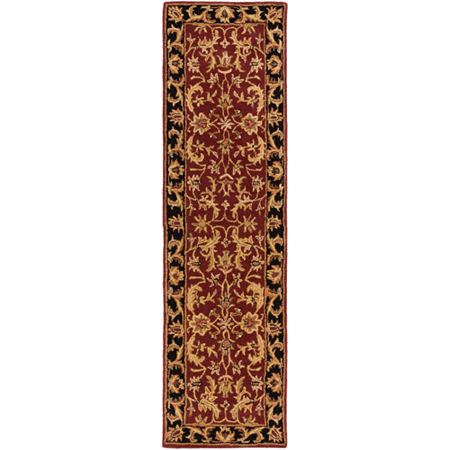 Rowland Damask Area Rug, One Size , Red