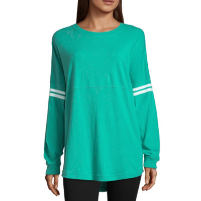 City Streets Long Sleeve Crew Neck T-Shirt-Womens