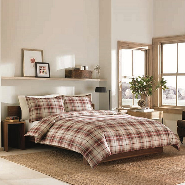 Ed Bauer Red Montlake Plaid Duvet Cover Set