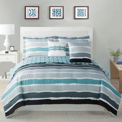 Studio 17 Tie Dye Stripe Reversible Microfiber Comforter Set
