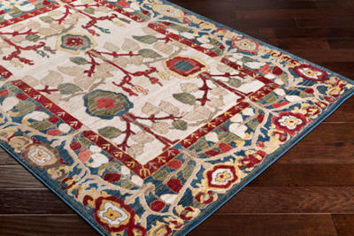 Addisyn Blue Damask Rug