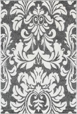 Alfaro Gray Damask Rug