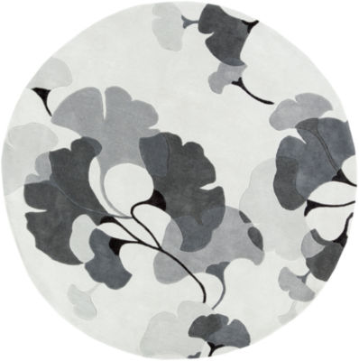 Avicennia Gray Floral Round Rug