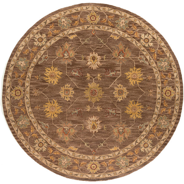 Briana Brown Damask Round Rug
