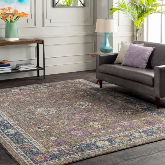 Desclot Brown Damask Area Rug