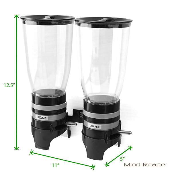 Mind Reader Metal Double Wall Mounted Coffee and Sugar Dispenser