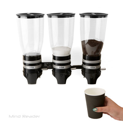 Mind Reader Metal Triple Wall Mounted Coffee and Sugar Dispenser