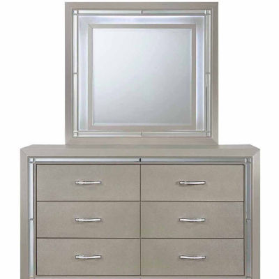 Picket House Furnishings Glamour Youth Dresser & Mirror with LED Light Set