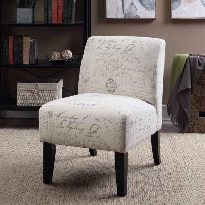 Parma Beige Printed Script Slipper Accent Chair