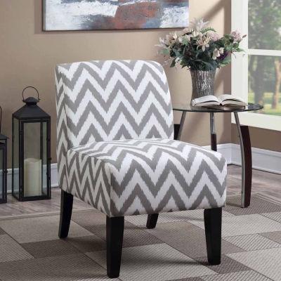 Parma Gray Chevron Slipper Accent Chair