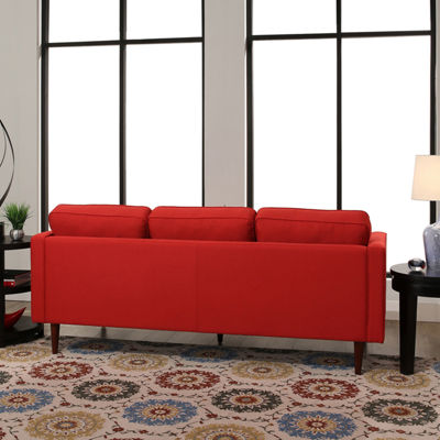 Devon & Claire Hillary Mid Century Tufted Sofa, Red